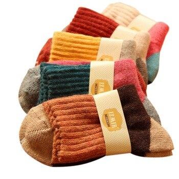 High quality winter vintage thicken warm rabbit wool women socks female fashion patchwork retro thermal cotton socks 5pairs/lot