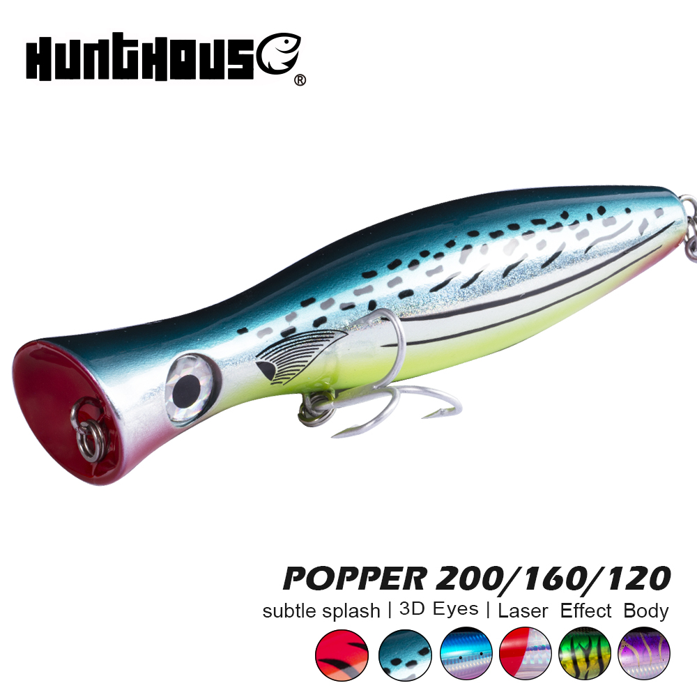 Hunthouse gt popper fishing lure <font><b>big</b></font> popper lure loud sound 200/160/120mm for fishing bass bluefish tuna popper with mustad hook image