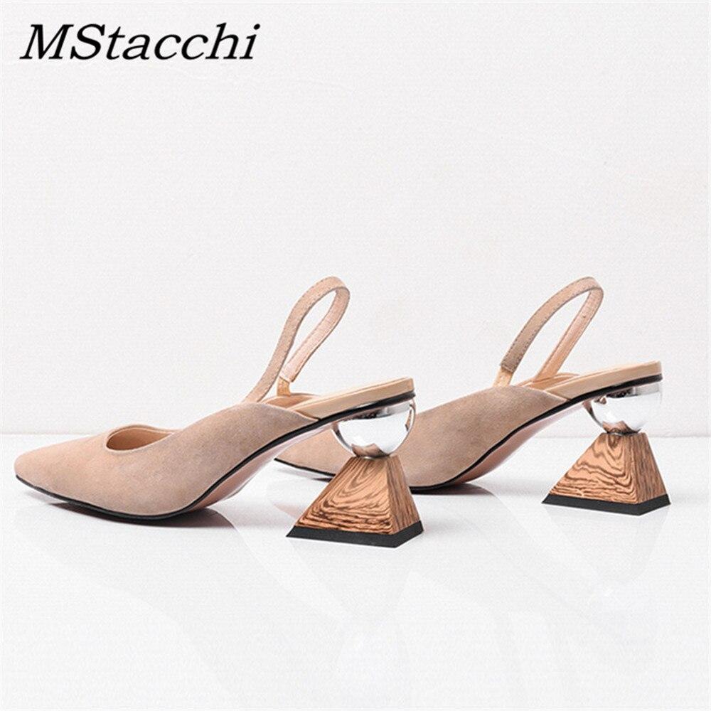 MStacchi Strange Heel Shoes Woman Sandalie Asymmetrical Square Heel Sandals Pointed Toe Slingback Pumps Middle Heels Wedge Pumps