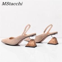 MStacchi Strange Heel Shoes Woman Sandalie Asymmetrical Square Heel Sa