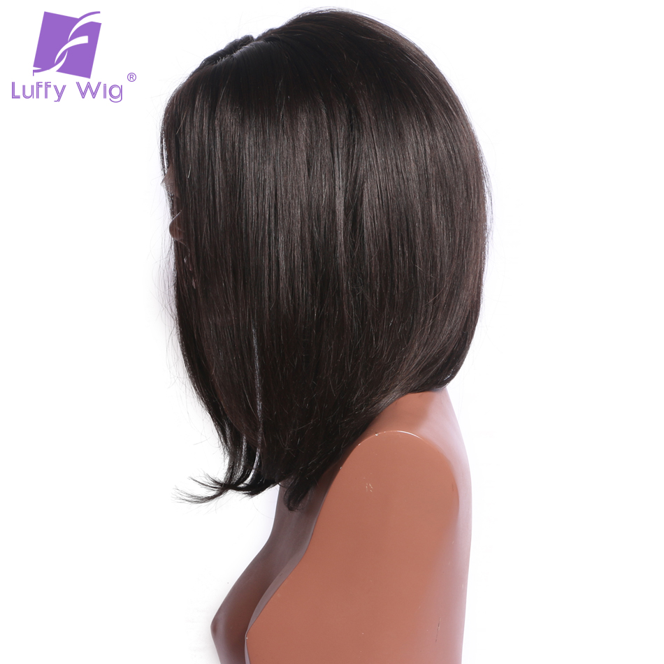 Luffy Short Straight Bob Full lace Human Hair Wigs Brazilian with baby Hair Non-remy Natural Color 130density For black women