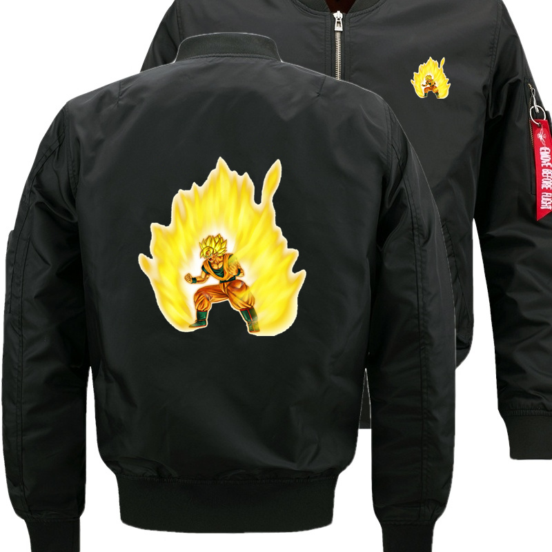 Hommes couleur unie dessin animé Dragon Ball Z Goku sweat à capuche hommes veste Slim Fit Zipper Hoodies Sweatshirts hommes à capuche Baseball