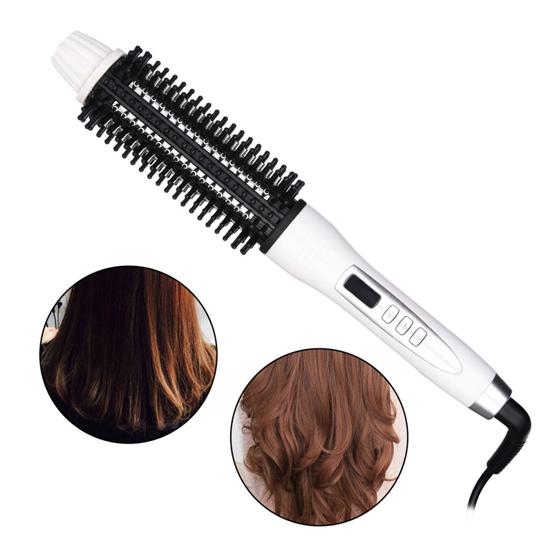Digital Hair Styler Hot Air Brush Styling Iron Ceramic Anion Hair Curler Comb Hairbrush LCD Curling Curler Straightener Roller50 novus electric hair straightener iron brush ceramic hair curler dual use straight and curl comb air bangs women styling tools