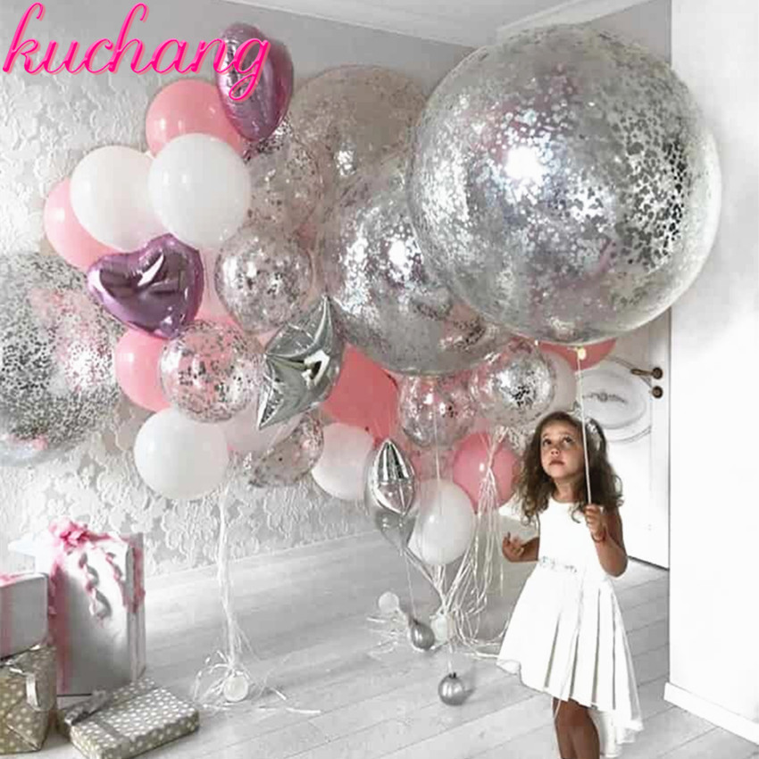 36inch silver confetti balloon pink white latex balloon silver romantic theme wedding <font><b>birthday</b></font> party decoration princes baby sho image