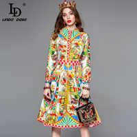 LD LINDA DELLA Autumn Fashion Designer Long Sleeve Dress Women's Gorgeous Pattern Printed A Line Vintage Shirt Dress vestido