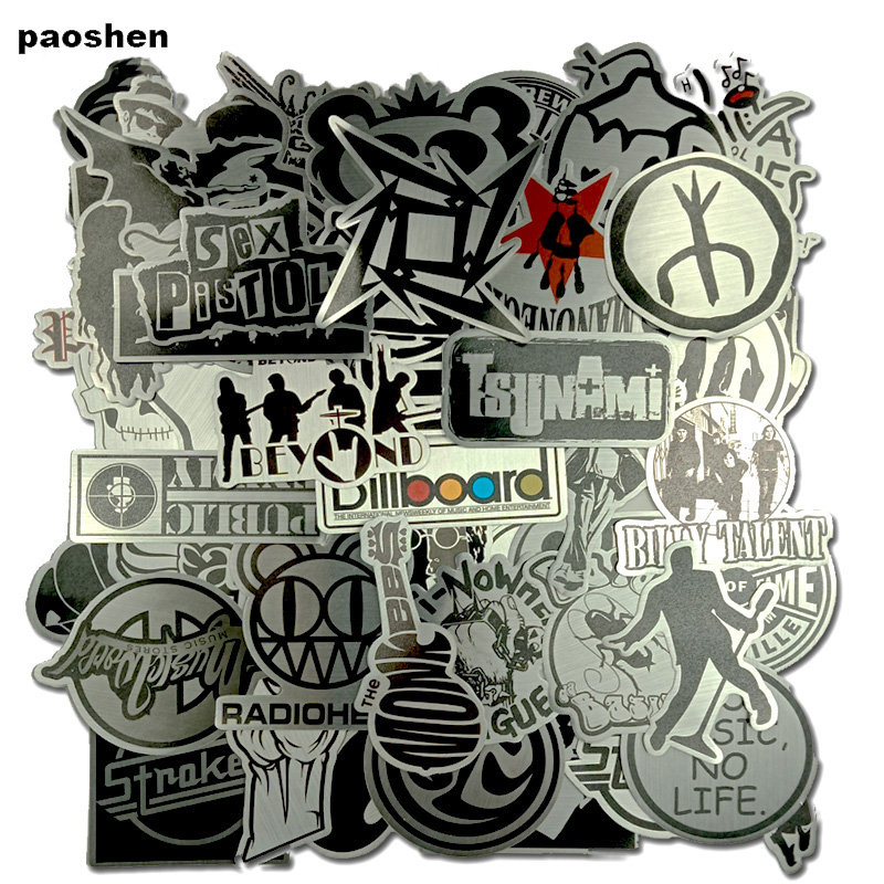 50 Pcs Popular Metal Stickers Will Not Repeated Stickers For Laptop Skateboard Luggage Bicycle Motorcyle Car Bathroom Guitar