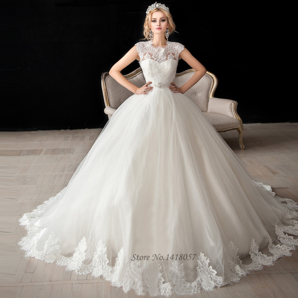 Dazzling Beaded Bodice On Flounced Tulle And Organza Ball: Ball Gown Style Wedding Dresses