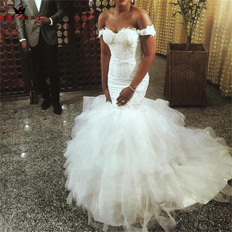 Custom Made Mermaid Sweetheart Ruffle Tulle Lace Sexy Long Women Wedding Dresses Wedding Gown 2018 Vestidos De Novia WS34