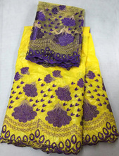 (5yards +2yards )  gorgeous beaded and embroidered African bazin lace with blouse lace set in yellow and blue for party CBL18