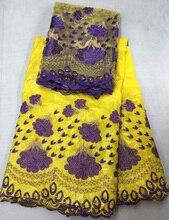 (5 м + 2 м) великолепный бисером и вышивкой Африканских базен кружева с блузкой кружева набор в желтый и синий для партии CBL18