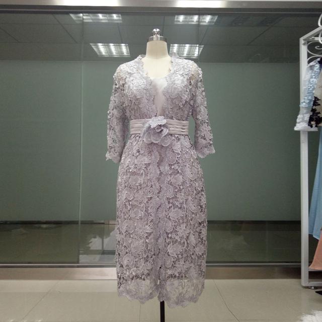 3/4 mãe de vestidos de noiva com jaqueta de manga curta na altura do joelho formal vestidos robe de soirée MBD207