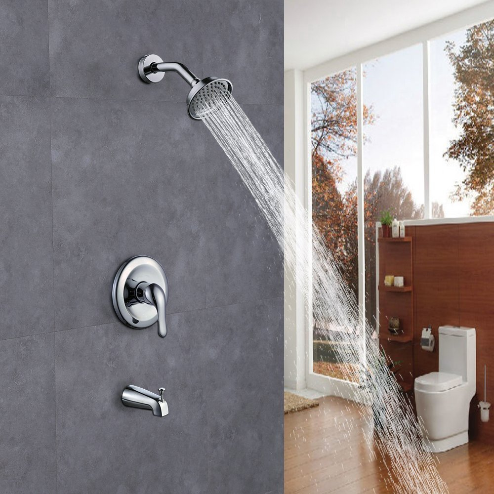 wall mounted brass bathroom shower faucet set brass antiscald valve with diverter tub spout shower arm and fixed showerhead