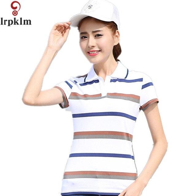 2017 New Women s Polo Shirts Short Sleeve Summer All-Match Fashion Female  Women Polo Shirt Brand Striped Slim Polos YY696 fdc2403d82
