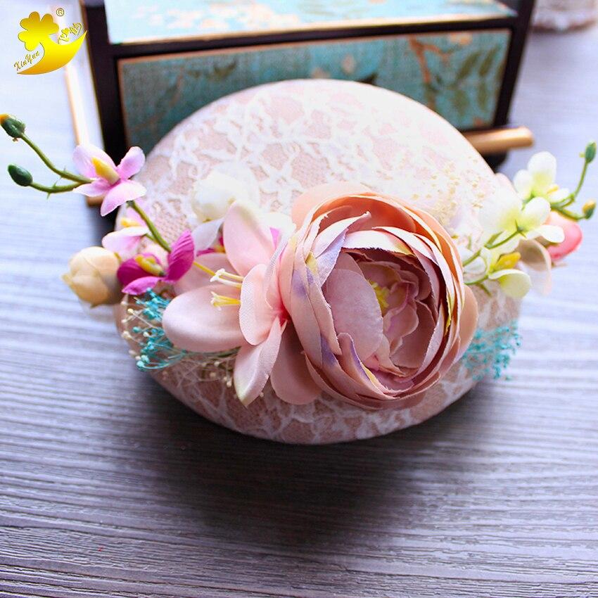 Braut Kopfbedeckungen Xinyun Rosa Rose Chapeau Femme Mariage Gypsophila Getrocknete Blumen Hüte Für Haar Zubehör Für Frisuren Mode Dame Spitze Hüte Hochzeit Zubehör