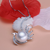 Women Gift word 925 Sterling silver real [bright pearl] natural freshwater pearl pendant necklace, 11 12mm steamed bun round Pho