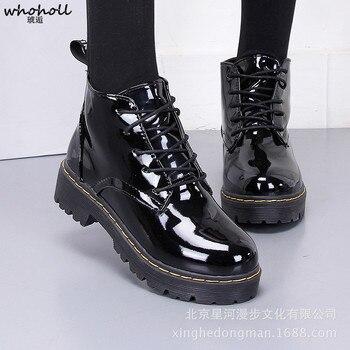 WHOHOLL Women Flat Boots Shoes JK Style Mori Girl Lolita Students Cosplay Black Uniform Platform Patent Leather