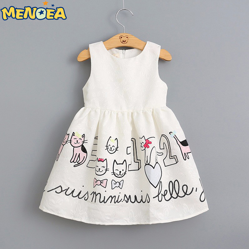 Menoea 2017 New Summer Fashion Style Sleeveless Cartoon Girls Dress Cats Pattern White Princess for Kids Dresses 3-7Y