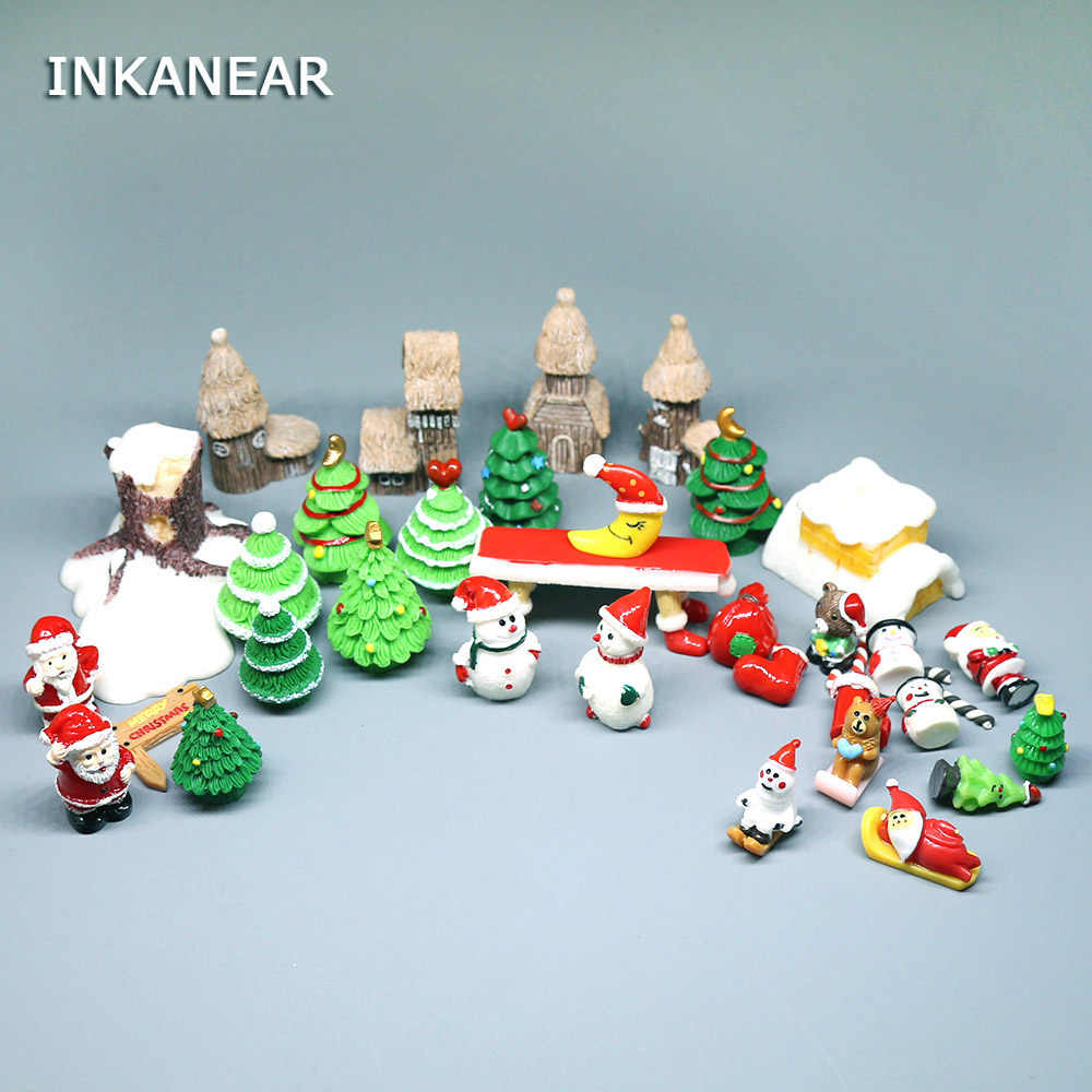 Christmas Trees/Santa Claus Snowman Figurines Miniature Fairy Garden Terrarium Figures Doll House Kids Toys DIY Gift Accessories