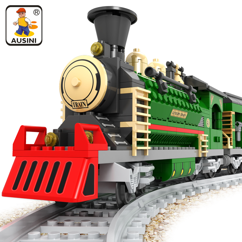 Ausini 666Pcs Building Blocks Sets Legoing Transportation Train Construction Bricks Brinquedos Educational Toys for Children inverno girls outwear children girls fashion winter coat