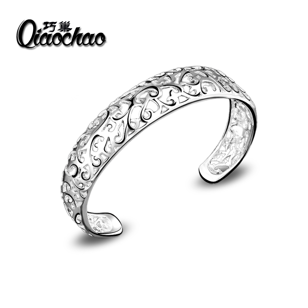 2016 Super Deal Z20 C Cuff silver Hollow Bangle bracelet CHIC hollow flower Woman Lady Wholesale price armband 925 jewelry