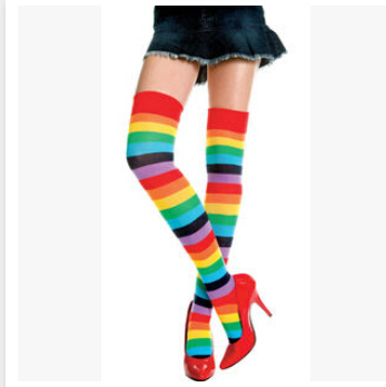 1pair/lot free shipping Gift Lovely over knee cotton Rainbow stocking Colorful High Thigh Ladies Long Women long Stripe Stocking
