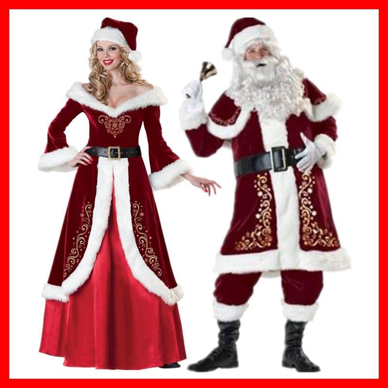 Red Regal Plush Womens Unisex Men's Santa Claus Costume Father Xmas Party Suit Fancy Dress