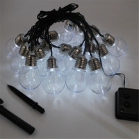 1x Outdoor Garden Patio Fence Solar Powered LED String Light 10 20 30Led G50 Milky Clear