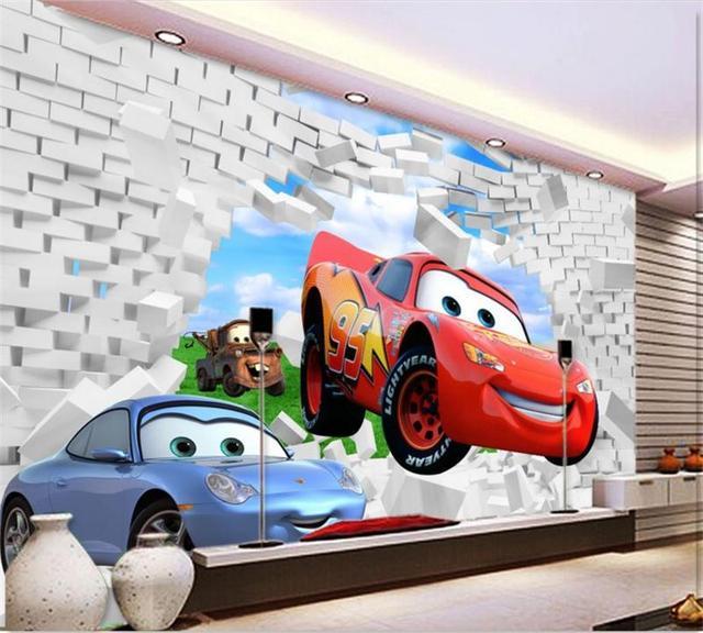 Custom mural wallpaper kids room 3d photo wallpaper cartoon car broken wall painting sofa TV background wall non-woven wallpaper