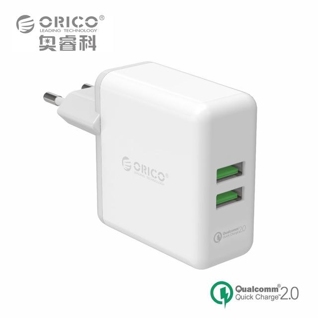 ORICO QCK-2U 2 Portas Compacto e Portátil de Viagem Carregador de Parede Com Carga Rápida 2.0