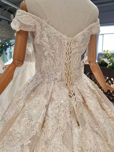 Image 5 - LSS083 מבריק תחרה בלינג חתונה שמלות כבוי כתף מתוקה ארוכה רכבת vestido דה novia para ודהה אזרחי קורטו