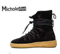 Micholediys Handmade New Arrival Sexy All Matching Mens Platform Army WInter Crepe Boots Kanye West Shoes