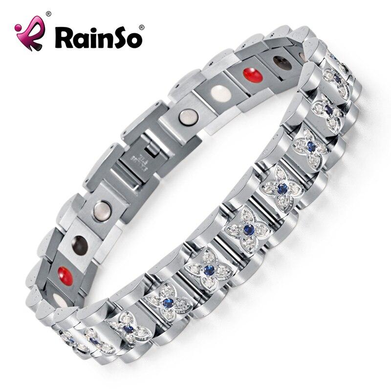 2018 Fashion Rhinestone Bracelets & Bangles For Women Silver Plated Crystal Magnetic Bio Bracelet Lady Jewelry OSB-1539SFIR