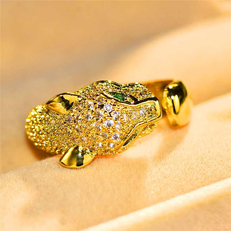 ヨーロッパスタイルの女性のヒョウ動物リングラグジュアリーイエローオープン結婚指輪約束調節可能な婚約指輪女性のための