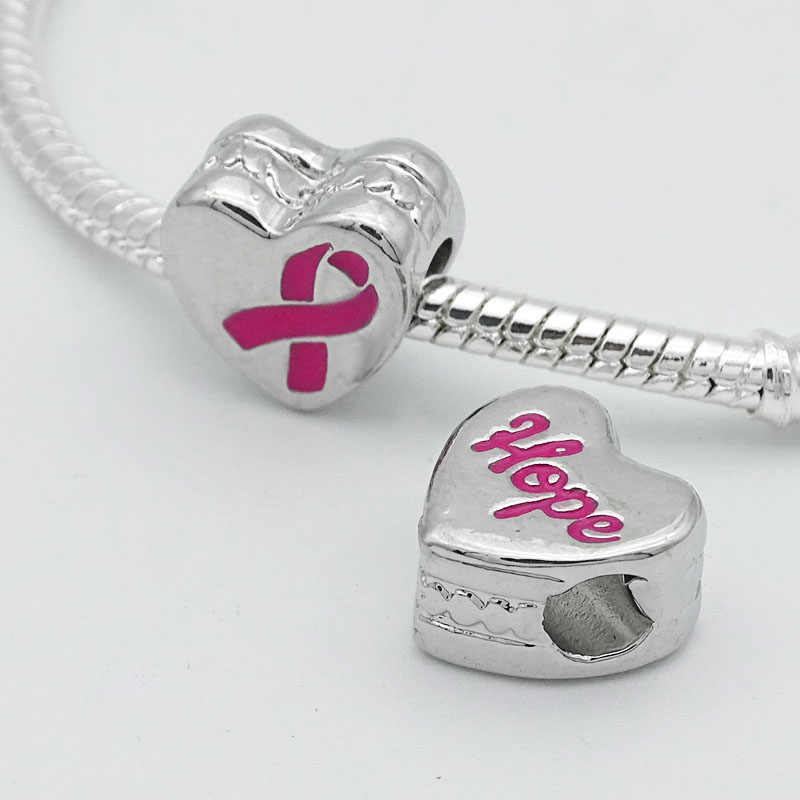 1 PC Kesadaran Kanker Payudara Rinbon Pesona Manik-manik Rantai Pengaman Cocok Eropa Pandora Kalung Gelang untuk Membuat Perhiasan