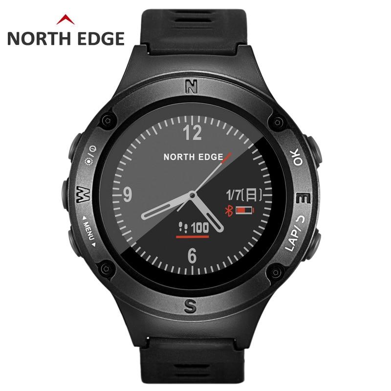 NORTH EDGE Herr Sport GPS klocka män Digitala klockor smartwatch Vattentät Hjärtfrekvens Altimeter Barometer Kompass timmar Vandring