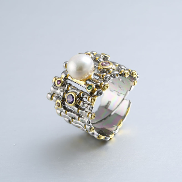 S925 Sterling Silver Natural Pearl Open Ended Ring Women Vintage Baroque Style Wholesale