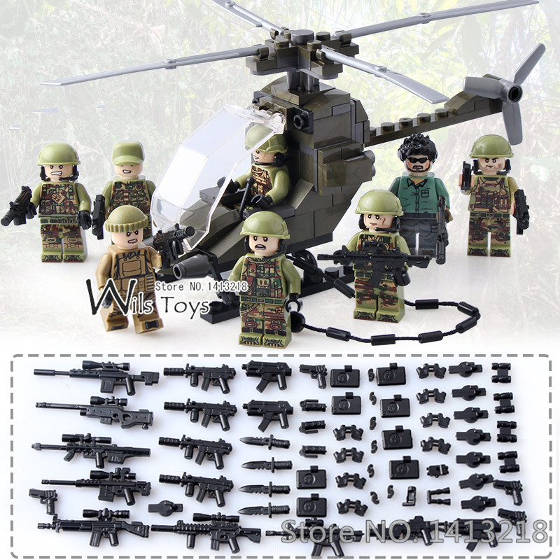 8pcs Special Forces MILITARY Soldier Army WW2 Helicopter SWAT Team Building Blocks Bricks Figures Educational Toys Boys children gudi 4 in 1 military soldier model building blocks toys for children army firewire swat action figure diy bricks gift 237pcs set
