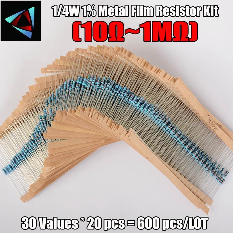 Металлический резистор, 600 шт./компл., 30 видов, 1/4 Вт, 1% сопротивления, набор резисторов 1K, 10K, 100K, 220 Ом, 1 м, 300 шт./компл.