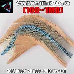 600 pçs/set 30 Tipos 1/4W Resistência 1% Metal Film Resistor Pacote Kit Sortido 10 1K K 100K 1M Resistores 220ohm 300 pçs/set
