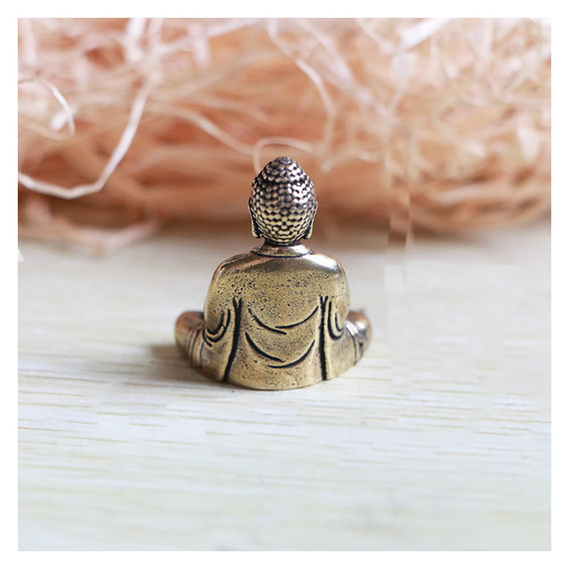 Mini Portable Vintage Brass Buddha Statue Pocket Sitting Buddha Figure Sculpture Home Office Desk Decorative Ornament Toy Gift 6