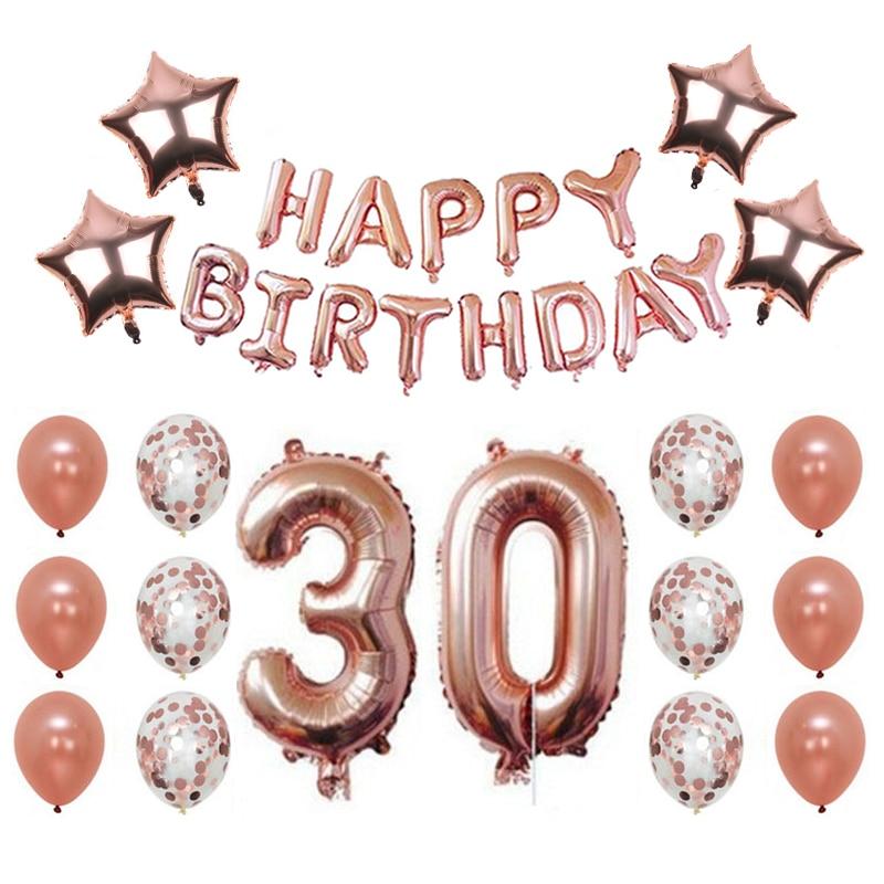 Happy Birthday pink Banner rose Gold Number Balloons, Number 30, - Para fiestas y celebraciones