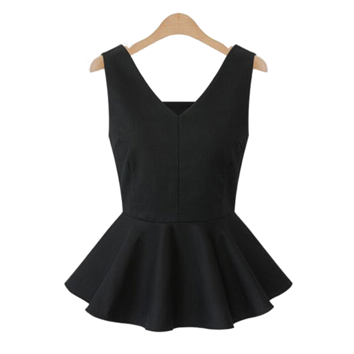 Customized New Fashion Women's Plain Stretchy Sleeveless V Collar Vest T-shirt Woman Casual Peplum Ruffles Top (3XS-8XL)