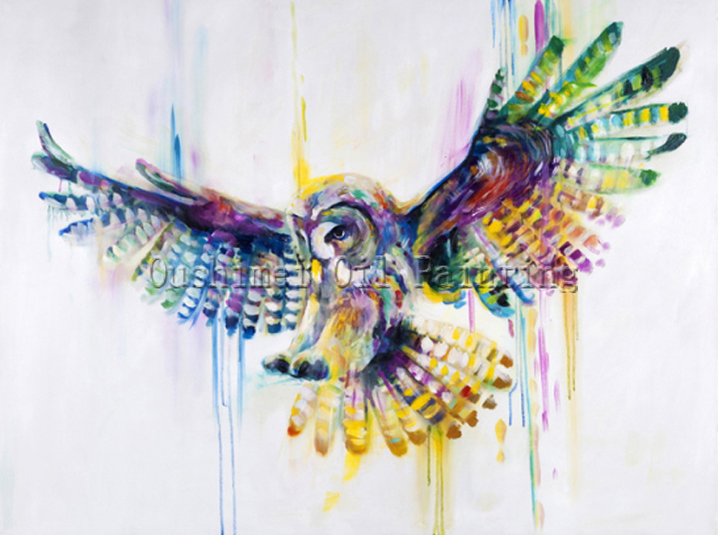 x series hand painted high quality abstract owl oil painting on