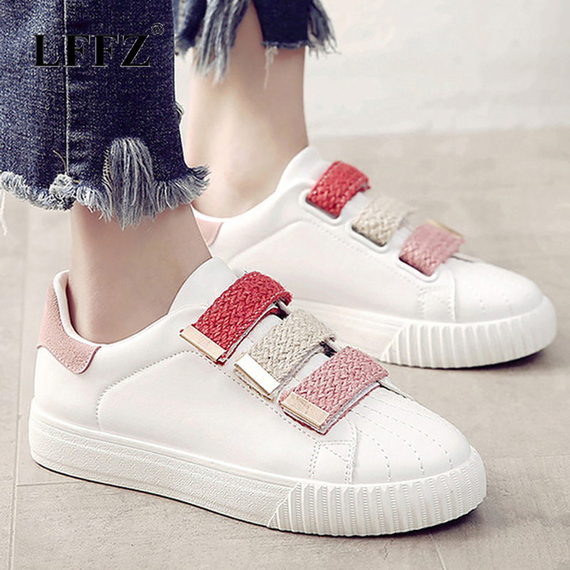 Hook Loop Women Shoes Breathable White Shoes Mixed Colors Fabric Fashion Shoes Sewing Rubber Sneakers Women Non-slip ZapatosHook Loop Women Shoes Breathable White Shoes Mixed Colors Fabric Fashion Shoes Sewing Rubber Sneakers Women Non-slip Zapatos
