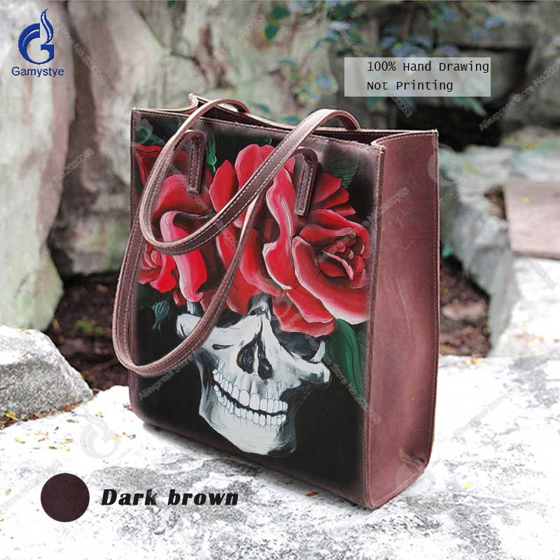 Classic Designer Bags Ladies Handbags Art Hand Drawing Skull Red Rose Crossbody Shoulder Bag 100% Full-Grain Cowhide Casual Tote
