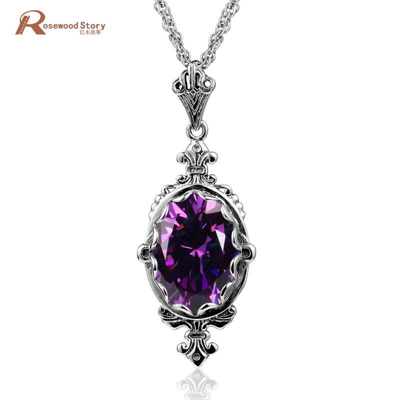 Factory Handmade Trendy Antique Pure 925 Sterling Silver Pendants Created Amethyst Crystal Stone Necklace Pendants Women Jewelry