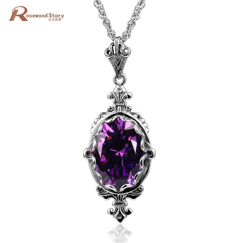 Usine à la main à la mode Antique pur 925 pendentifs en argent Sterling créé améthyste cristal pierre collier pendentifs femmes bijoux