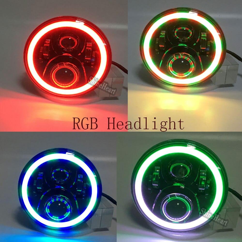 2018 2 PCS Rodada 7 Inch Auto LED Piscando Cor RGB Farol 50 w Hi/Lo feixe de 12/24 v sem APP Remoto para Wrangler19 RGB iluminação - 3