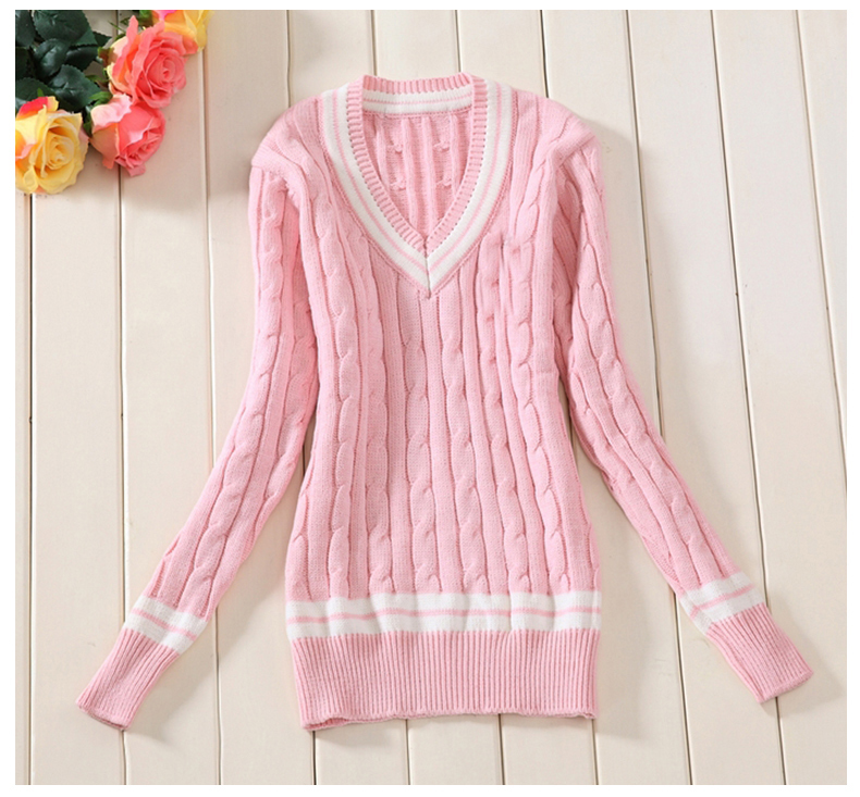 Navy Blue,White,Grey,Pink 100% cotton Womn Sweaters school uniform ...