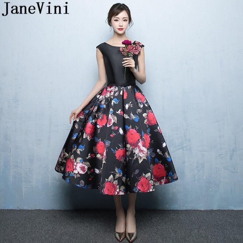 JaneVini liban fleurs motif robes de demoiselle d'honneur élégant thé longueur Satin Floral robes de bal appliques sans manches robe formelle